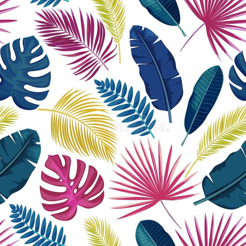 Teste padrão sem emenda das folhas tropicais ilustração royalty free