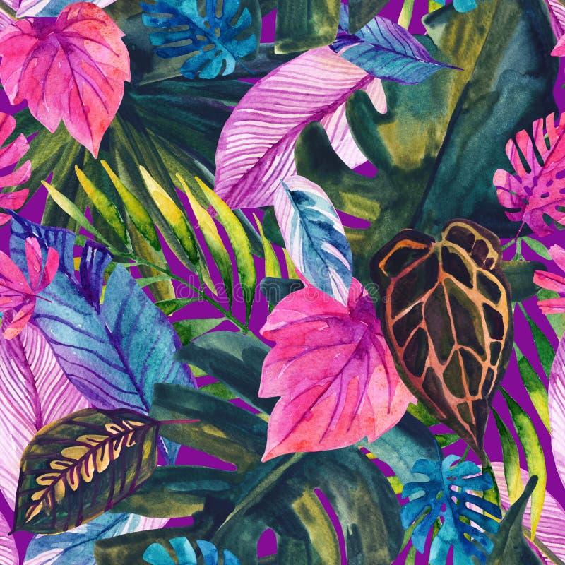 Teste padrão sem emenda das folhas tropicais da aquarela ilustração do vetor