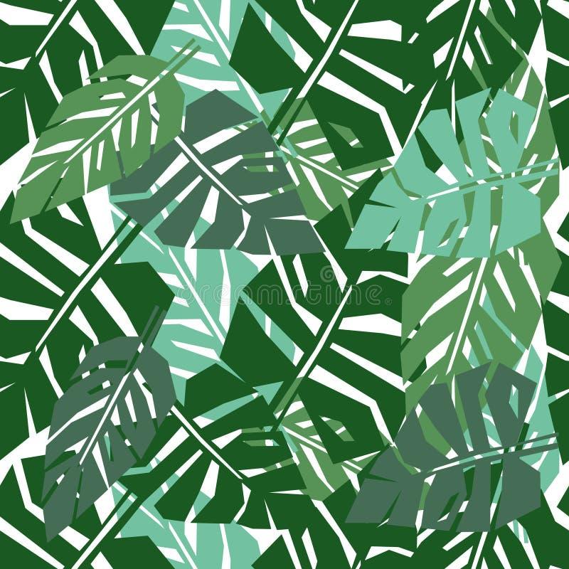 Teste padrão sem emenda das folhas tropicais Fundo verde das folhas de palmeira ilustração royalty free