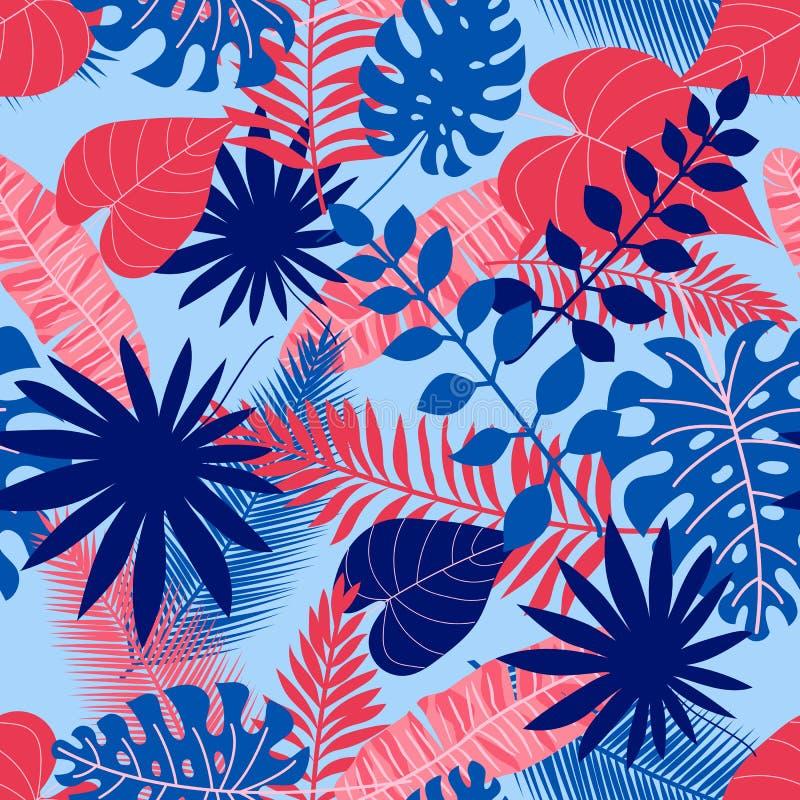 Teste padrão sem emenda das folhas tropicais na luz - fundo azul do verão ilustração stock