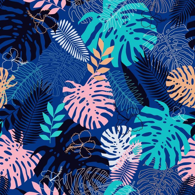 Teste padrão sem emenda das folhas tropicais no estilo liso ilustração royalty free