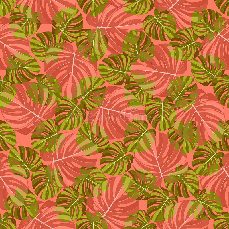 Teste padr?o sem emenda das folhas tropicais verdes e vermelho-alaranjadas de Monstera, em um fundo coral ilustração royalty free