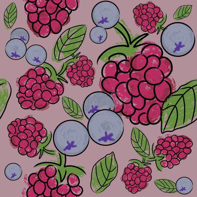 Teste padrão sem emenda das frutas de baga ilustração stock