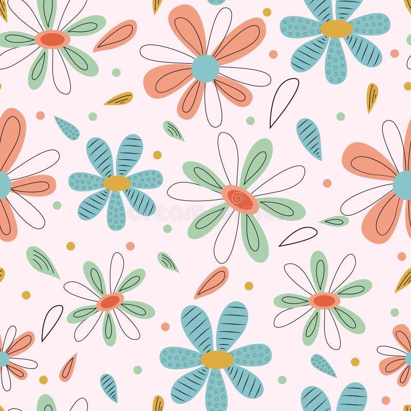 Teste padrão sem emenda das grandes folhas e flores brilhantes Projeto do vetor ilustração royalty free