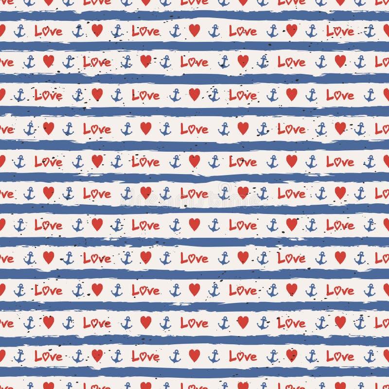Teste padrão sem emenda das listras com corações e âncoras ilustração do vetor