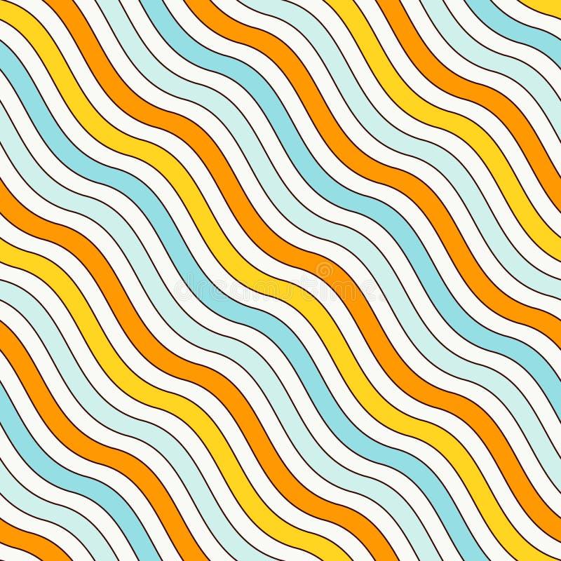 Teste padrão sem emenda das listras onduladas diagonais azuis e amarelas das cores Linha repetida papel de parede r ilustração do vetor