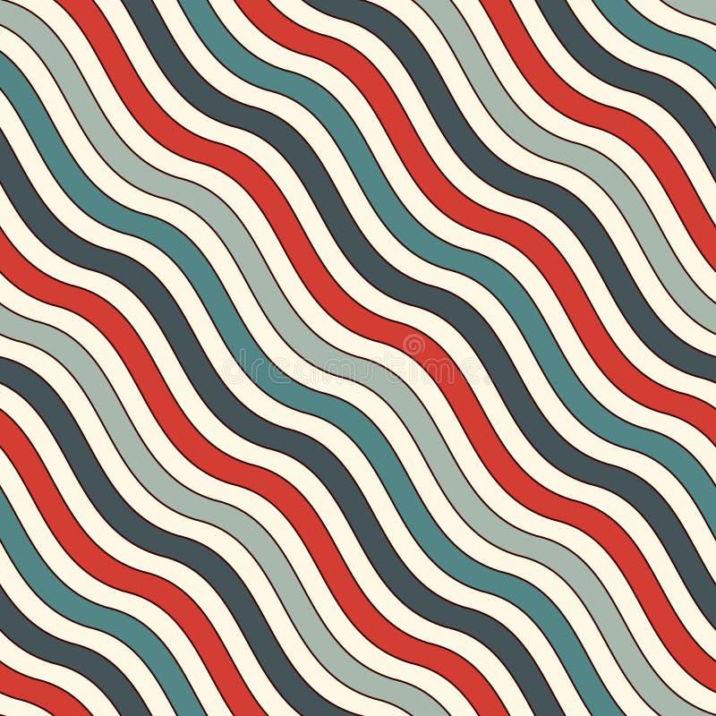 Teste padrão sem emenda das listras onduladas diagonais retros das cores Linha repetida papel de parede Fundo abstrato com motivo ilustração royalty free