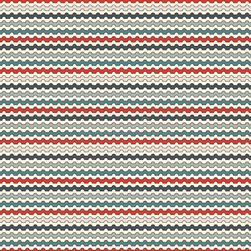 Teste padrão sem emenda das listras onduladas horizontais retros das cores O azul e o vermelho repetiram linhas papel de parede c ilustração do vetor