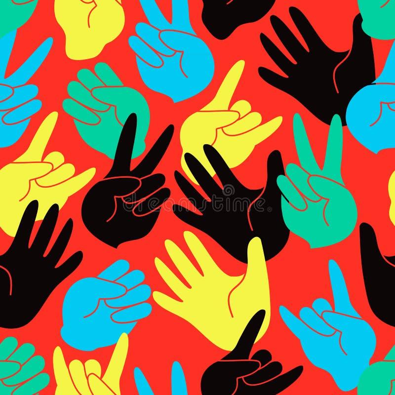 Teste padrão sem emenda das mãos estilizados coloridas ilustração stock