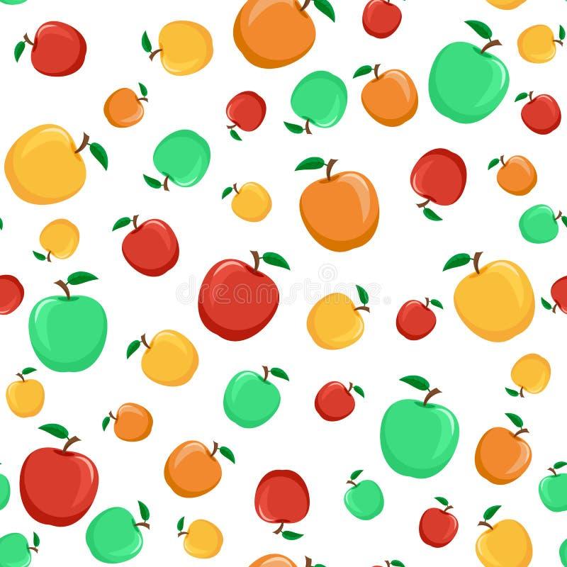 Teste padrão sem emenda das maçãs coloridas com uma folha em um CCB branco ilustração stock