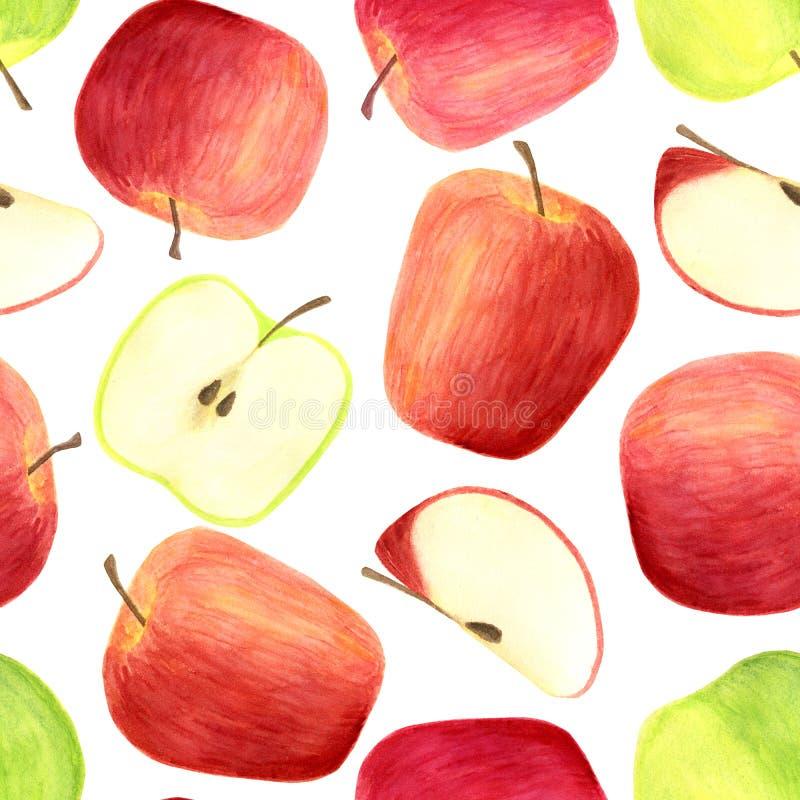 Teste padrão sem emenda das maçãs da aquarela isolado no fundo branco Frutos vermelhos e verdes tirados mão, fatias para empacota ilustração stock