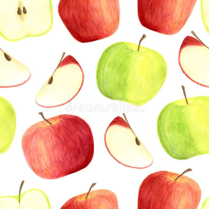 Teste padrão sem emenda das maçãs da aquarela isolado no fundo branco Frutos vermelhos e verdes tirados mão, fatias para empacota ilustração royalty free