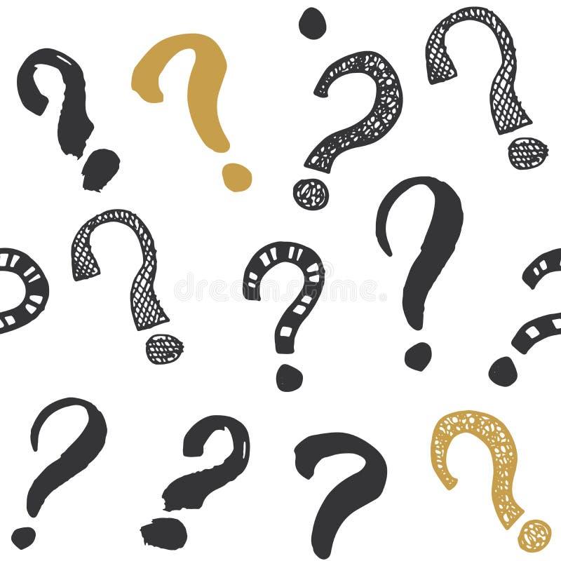 Teste padrão sem emenda das marcas de perguntas A garatuja esboçada tirada mão assina, fundo retro textured grunge PR do projeto  ilustração do vetor
