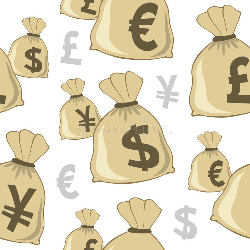 Teste padrão sem emenda das moedas do saco do dinheiro ilustração royalty free