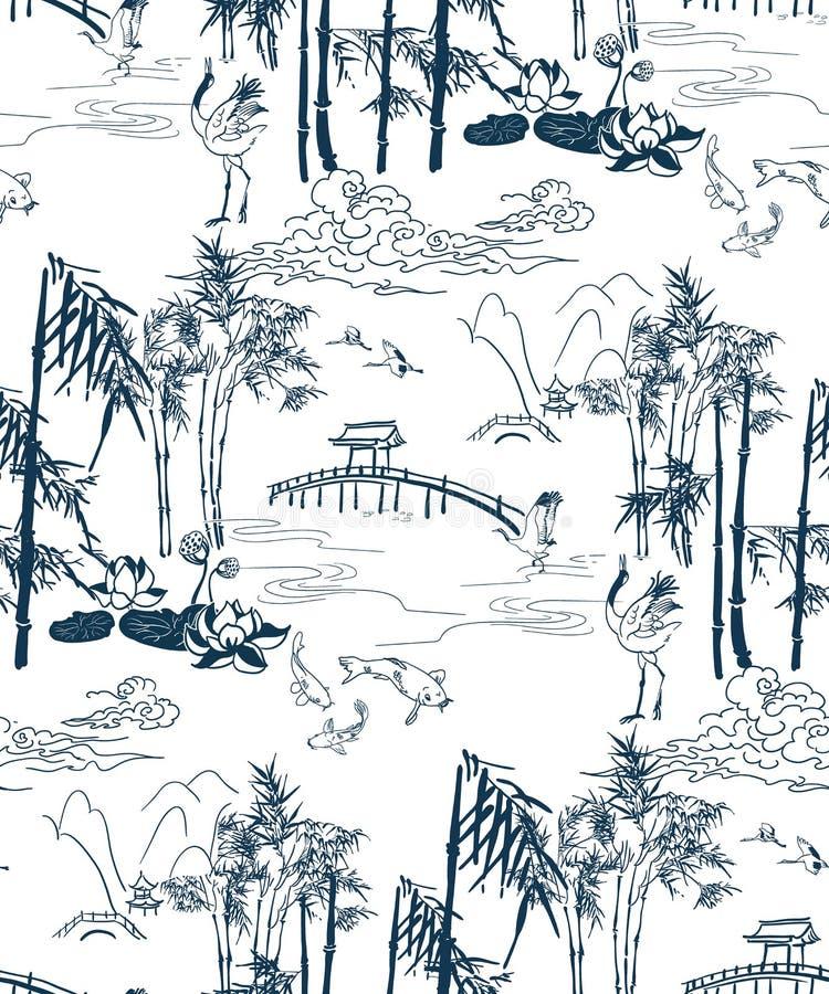 Teste padrão sem emenda das montanhas de bambu do brige do teste padrão do japonês do vetor foto de stock royalty free