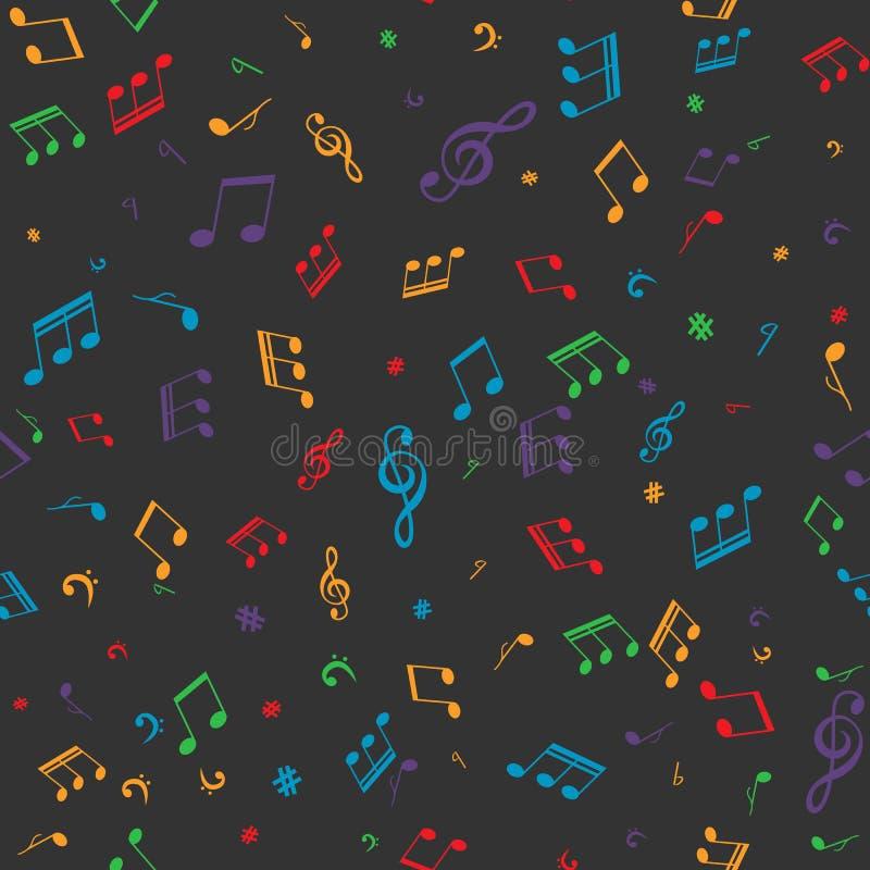 Teste padrão sem emenda das notas musicais ilustração stock