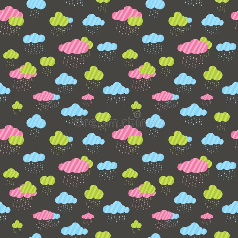 Teste padrão sem emenda das nuvens chuvosas bonitos ilustração royalty free