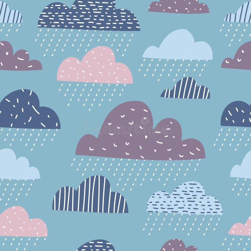 Teste padrão sem emenda das nuvens engraçadas bonitos ilustração royalty free