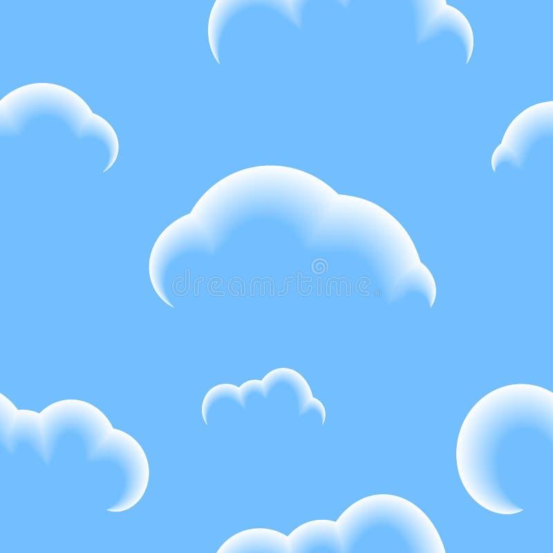 Teste padrão sem emenda das nuvens no céu azul fotografia de stock royalty free