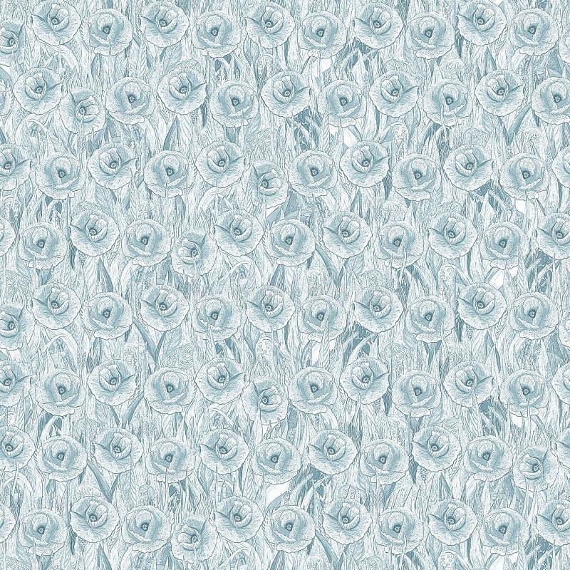 Teste padrão sem emenda das papoilas na grama Fundo azul sob a forma de uma clareira da flor Ilustra??o tirada m?o da aguarela ilustração do vetor
