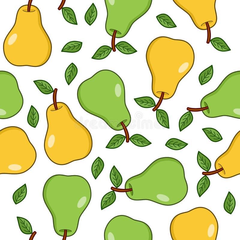 Teste padrão sem emenda das peras verdes e amarelas ilustração royalty free