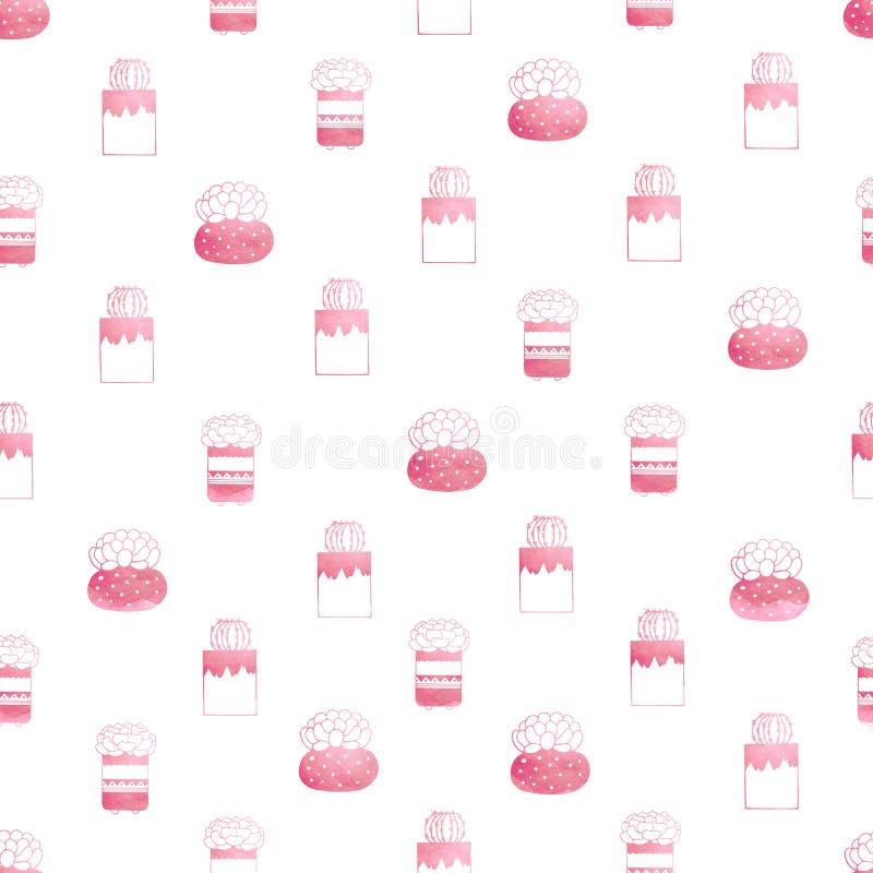 Teste padrão sem emenda das plantas carnudas e dos cactos em uns potenciômetros na cor cor-de-rosa ilustração royalty free