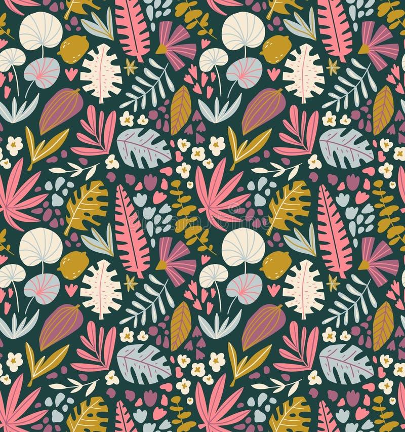 Teste padrão sem emenda das plantas tropicais do verão Folhas de palmeira e flores no fundo escuro ilustração do vetor