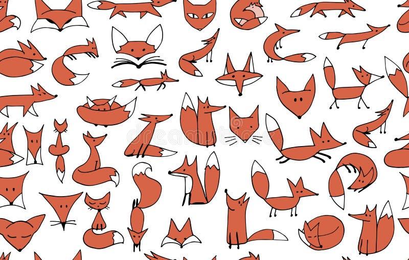 Teste padrão sem emenda das raposas bonitos para seu projeto ilustração do vetor