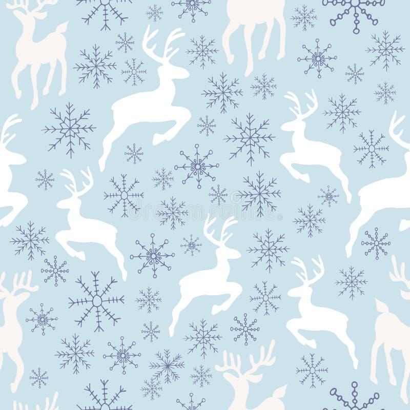 Teste padrão sem emenda das renas e dos flocos de neve ilustração stock