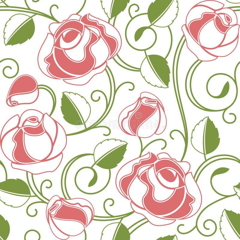 Teste padrão sem emenda das rosas ilustração royalty free