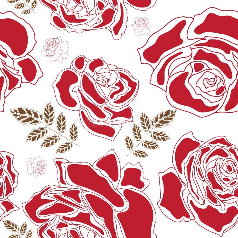 Teste padrão sem emenda das rosas ilustração do vetor