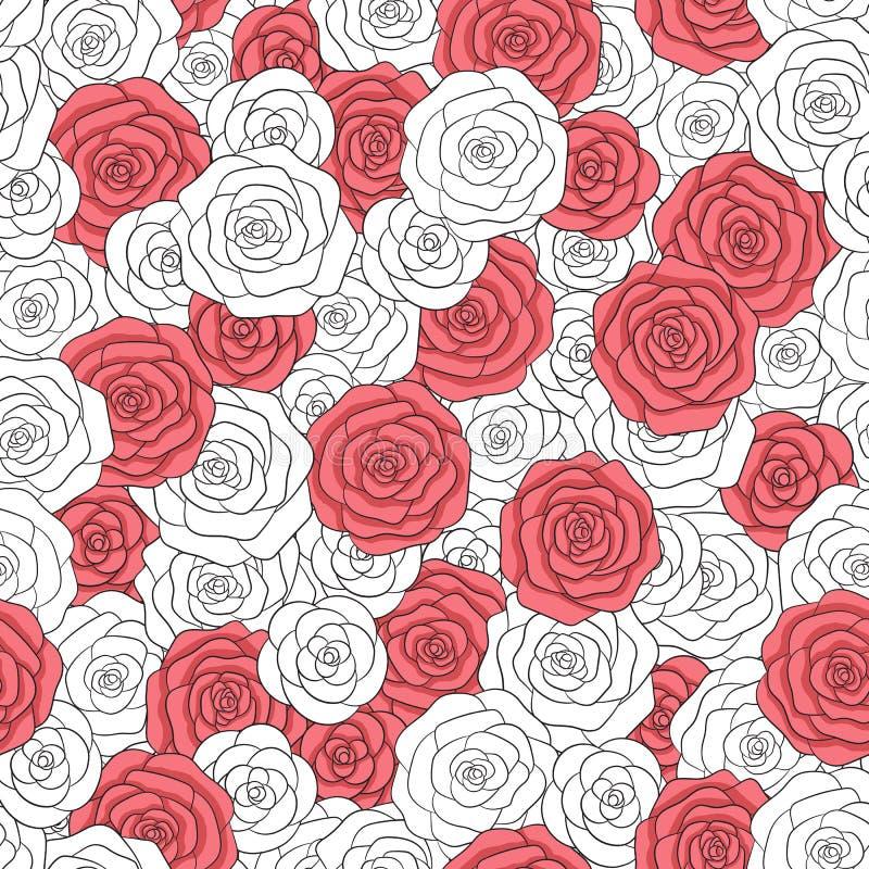 Teste padrão sem emenda das rosas brancas e vermelhas do vetor Ornamento floral delicado abstrato ilustração do vetor