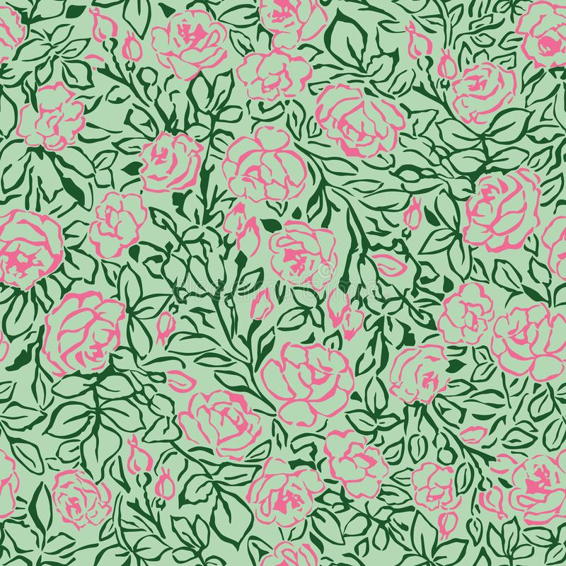 Teste padrão sem emenda das rosas cor-de-rosa no fundo verde ilustração do vetor