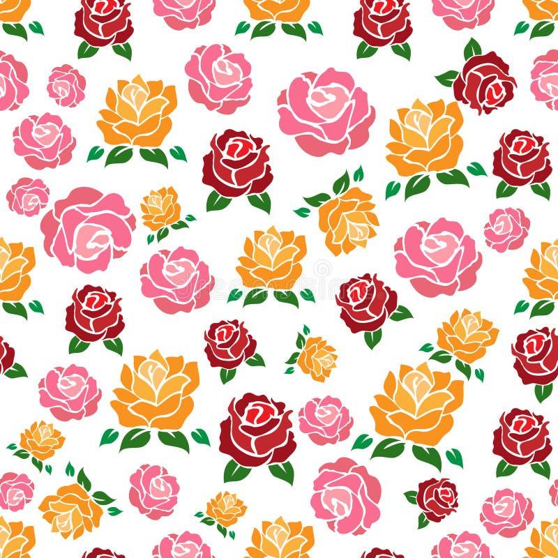 Teste padrão sem emenda das rosas de Colorul ilustração stock