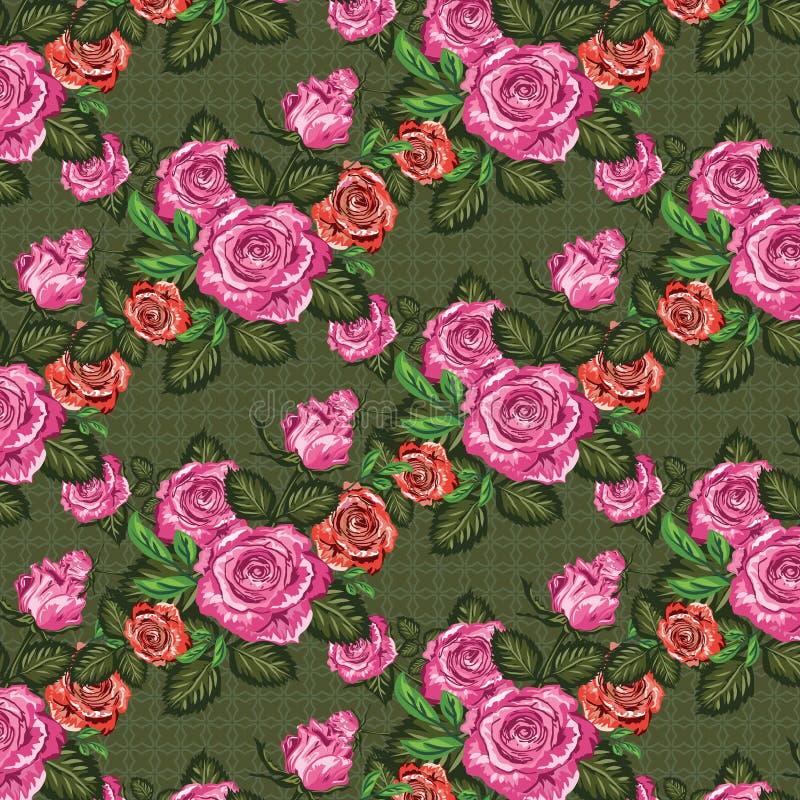 Teste padrão sem emenda das rosas, fundo floral Ilustração de alta resolução ilustração stock