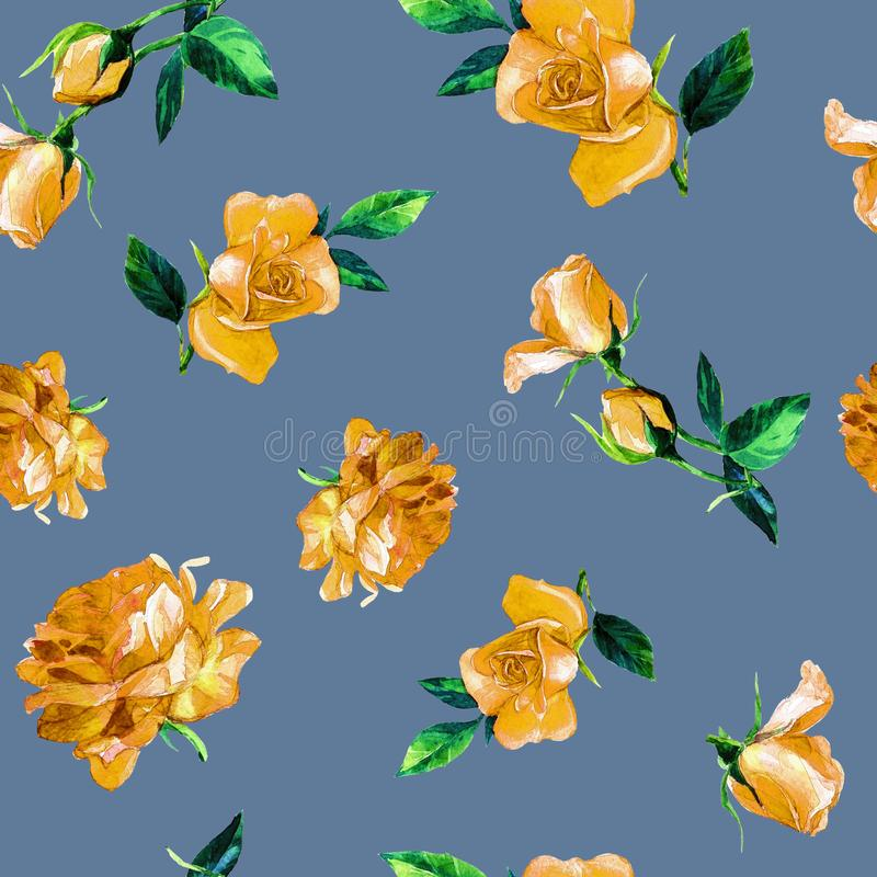 Teste padrão sem emenda das rosas na aquarela fotografia de stock royalty free