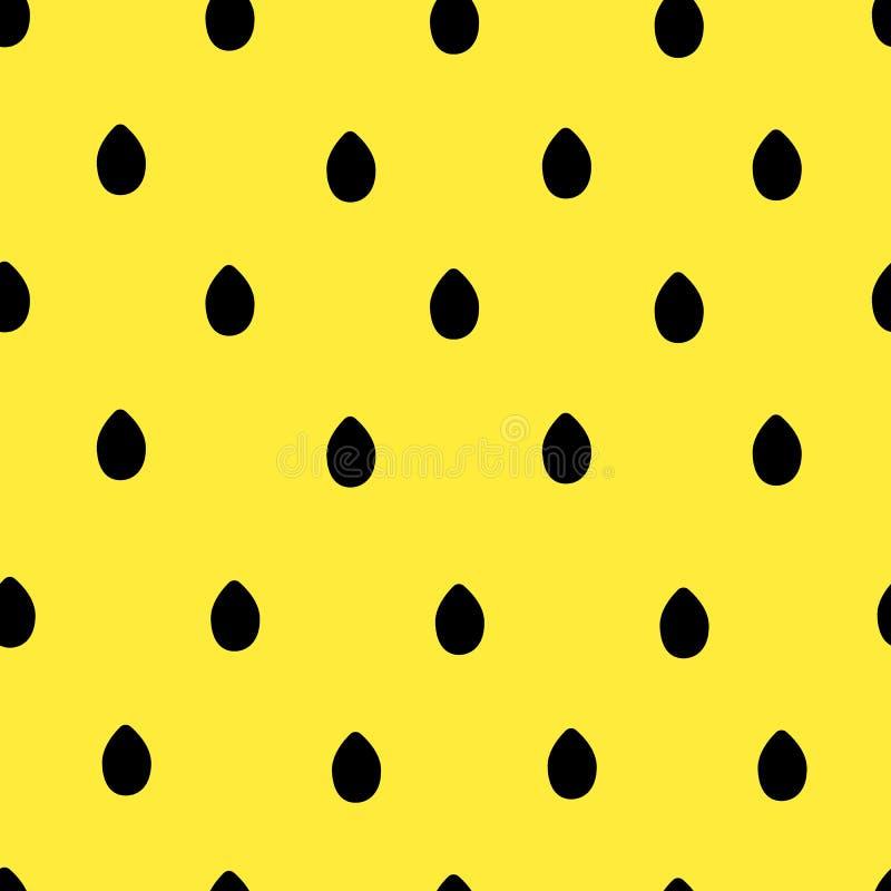 Teste padrão sem emenda das sementes de girassol no fundo amarelo ilustração do vetor