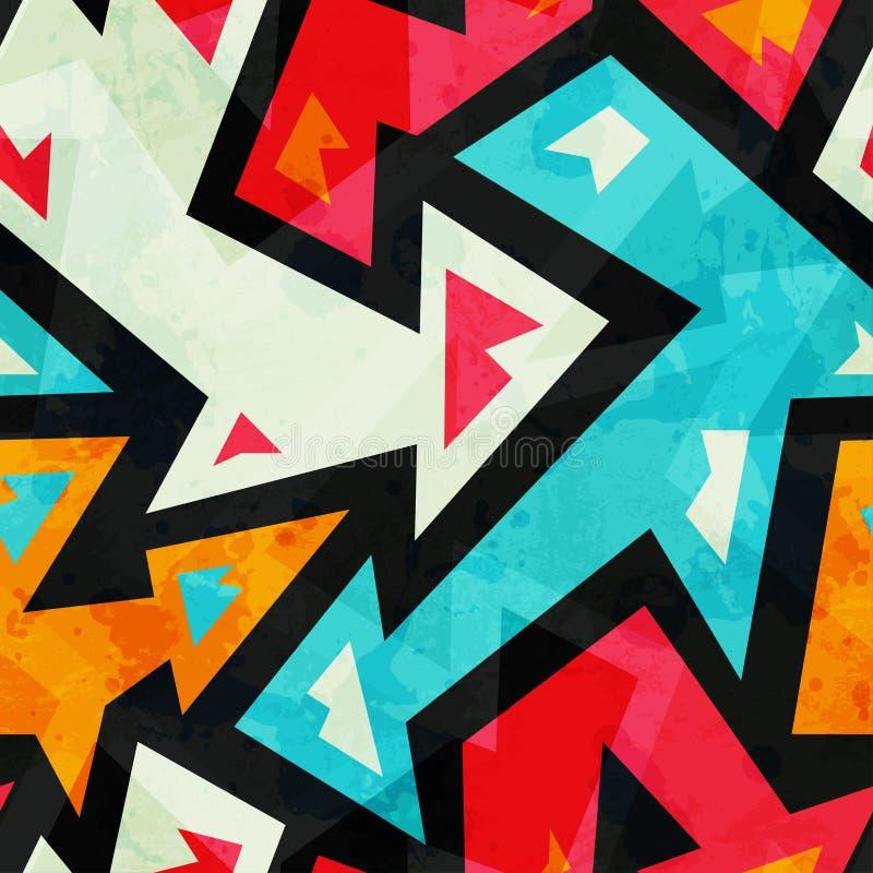 Teste padrão sem emenda das setas dos grafittis com efeito do grunge ilustração stock
