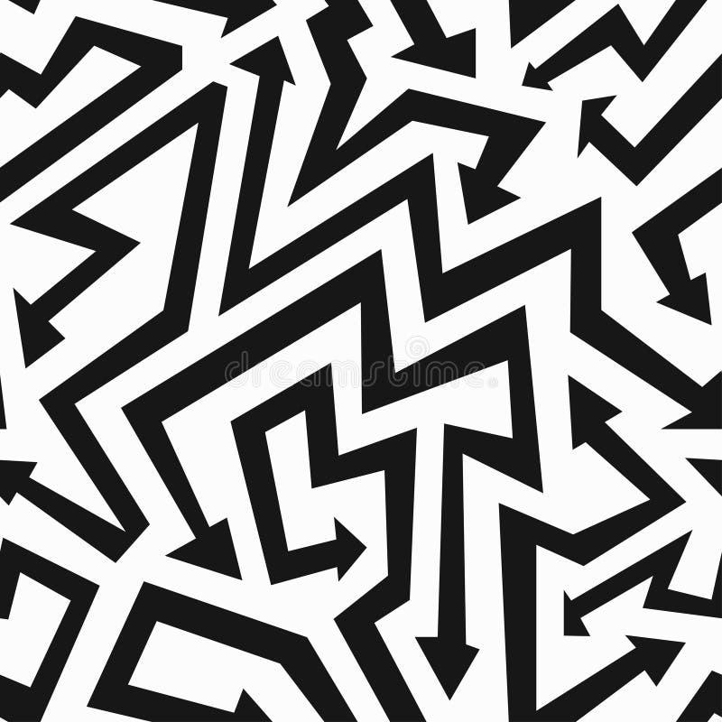 Teste padrão sem emenda das setas monocromáticas ilustração do vetor