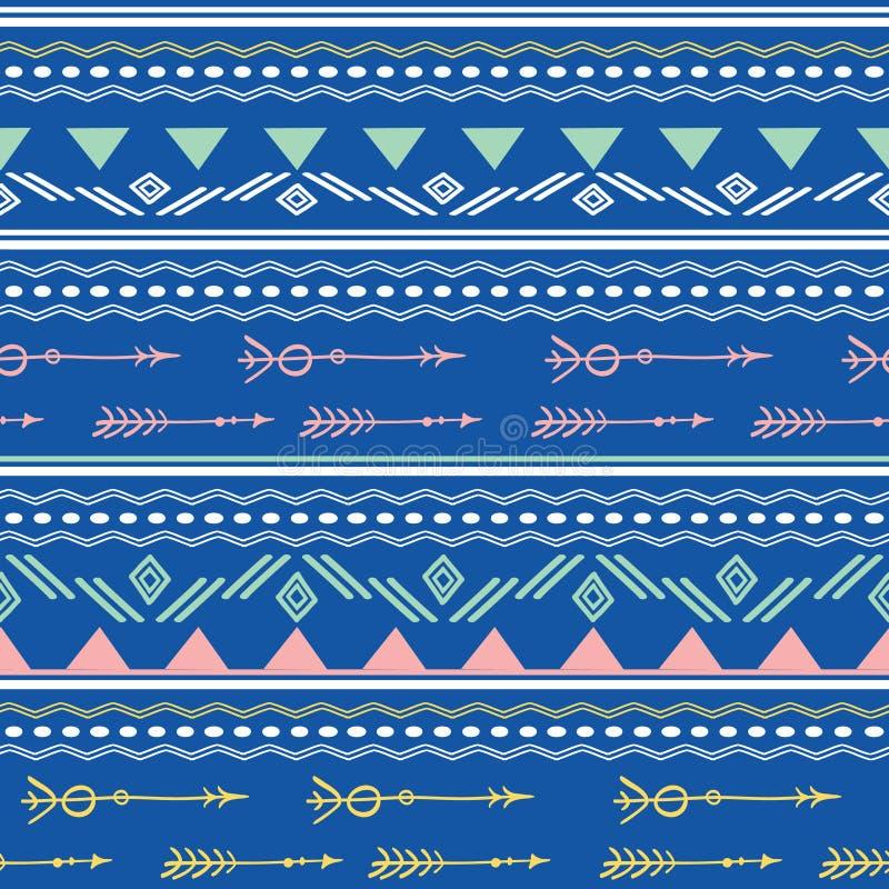 Teste padrão sem emenda das setas tribais cor-de-rosa azuis ilustração royalty free