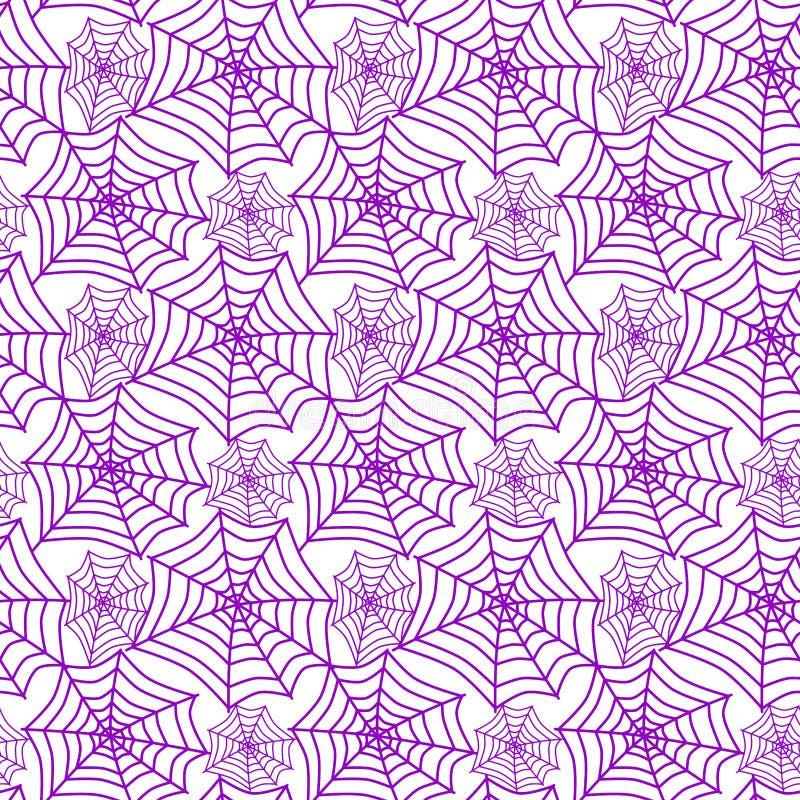Teste padrão sem emenda das teias de aranha roxas de Dia das Bruxas ilustração royalty free