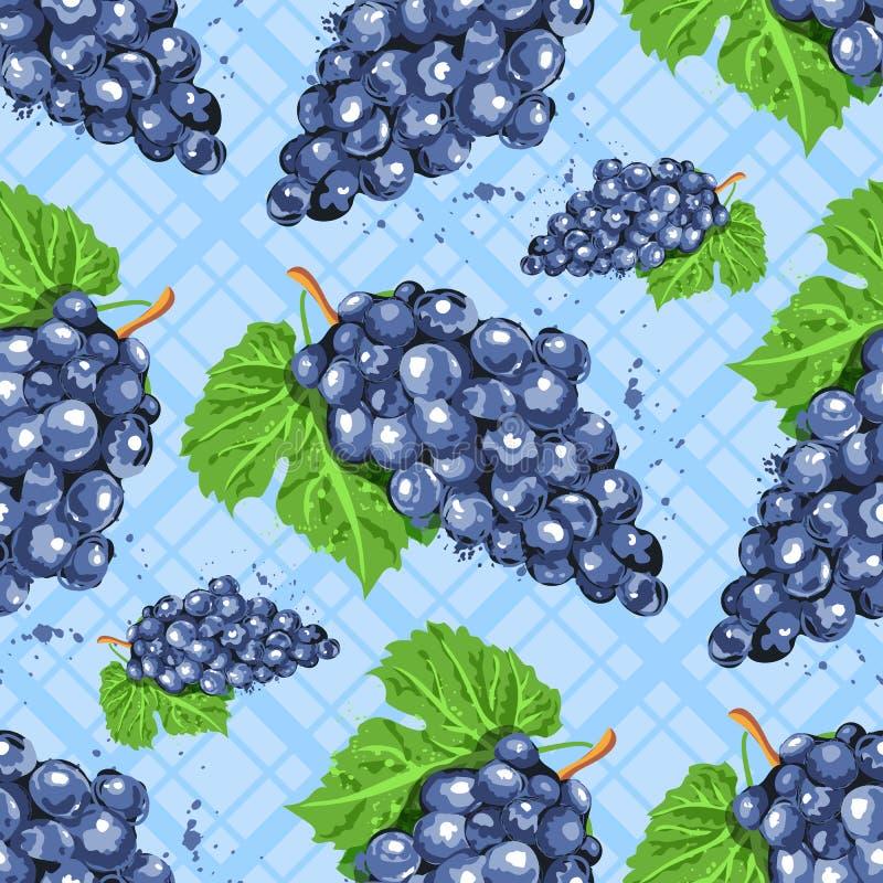 Teste padrão sem emenda das uvas da aquarela Grupos da aquarela de uvas em um fundo azul quadriculado isolado Vetor ilustração stock