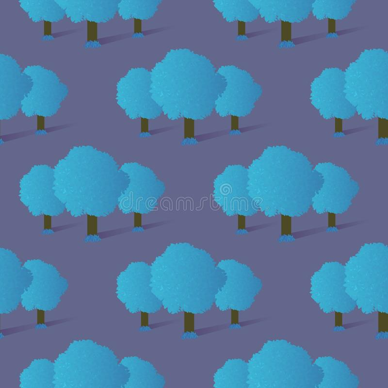 Teste padrão sem emenda de árvores e da grama azuis do inclinação ilustração royalty free