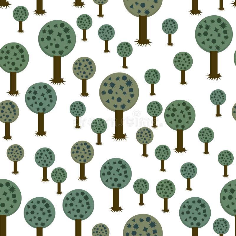 Teste padrão sem emenda de árvores geométricas ilustração do vetor