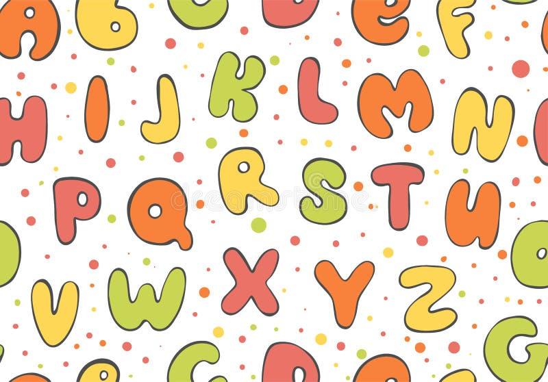 Teste padrão sem emenda de ABC Fundo colorido da letra Os desenhos animados caçoam a fonte para imprimir ilustração stock
