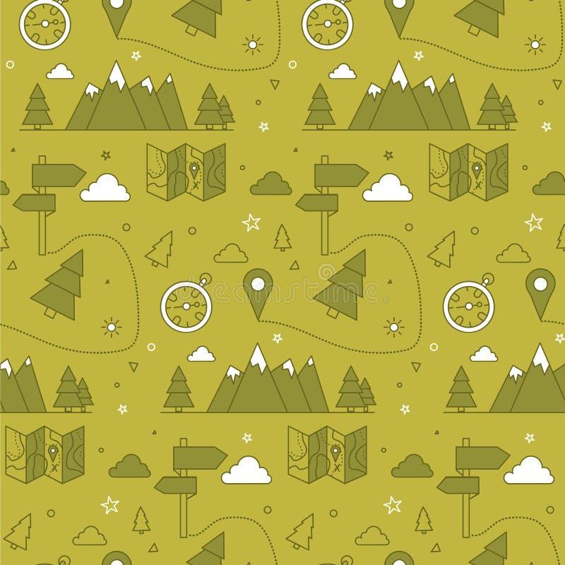 Teste padrão sem emenda de acampamento ilustração royalty free