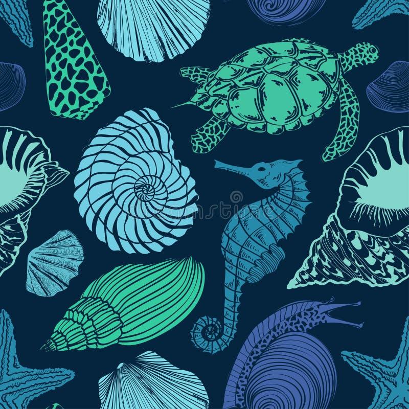 Teste padrão sem emenda de animais de mar ilustração royalty free