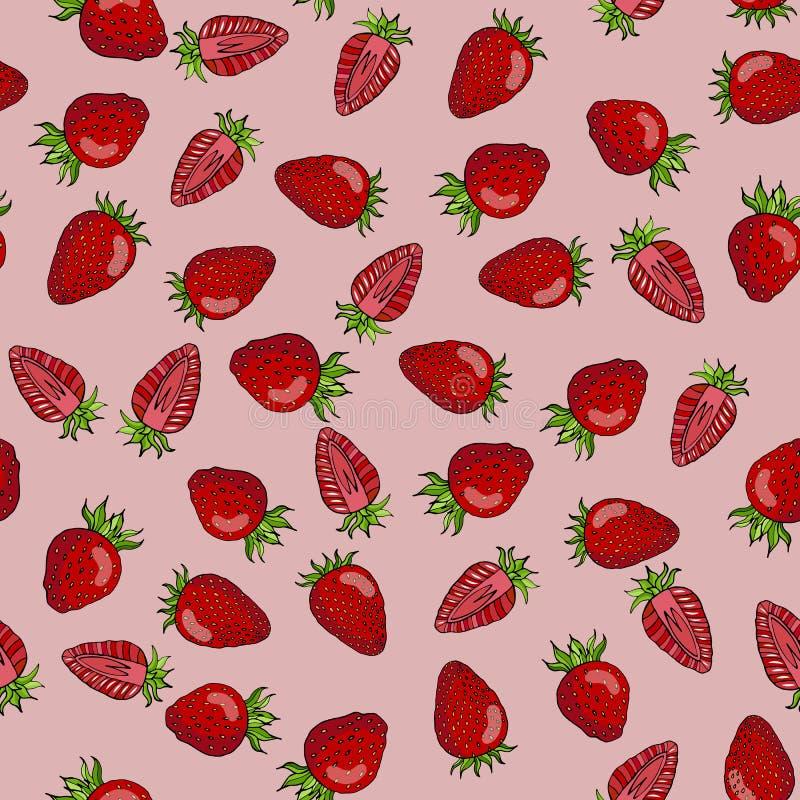 Teste padrão sem emenda de bagas vermelhas da morango em um fundo cor-de-rosa ilustração stock
