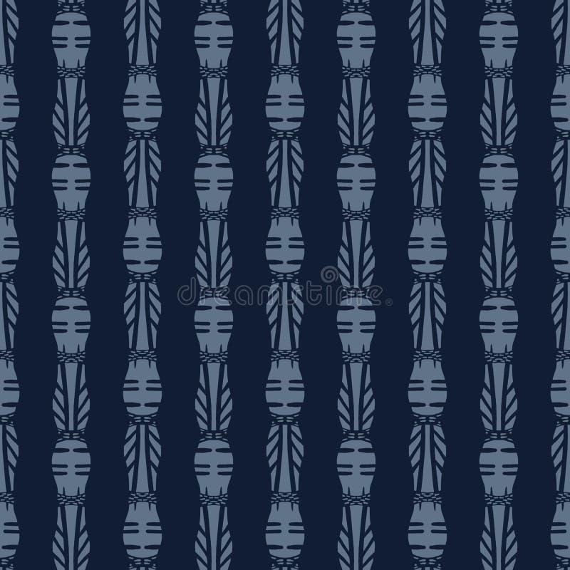 Teste padrão sem emenda de bambu japonês do vetor do azul de índigo Mão desenhada ilustração stock