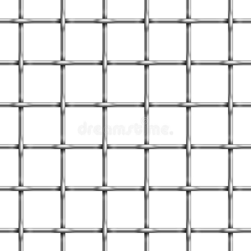 Teste padrão sem emenda de barras da pilha de cadeia Ilustração do vetor da gaiola da prisão do metal ilustração stock